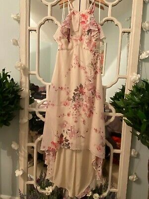 Ariella Cream With Floral Pattern High Low Dress New Without Tags Size 6 • 12.99£