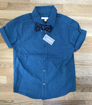 BNWT Bluezoo Teal Short Sleeve Shirt With Dinosaur Bowtie Age 3-4 Years • 7.50£