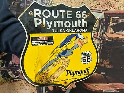 $ CDN1.26 • Buy Dated 1968 Vintage Us Route 66 Plymouth Highway Porcelain Road Runner Sign Tulsa
