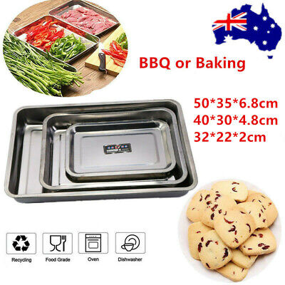 AU35.99 • Buy 3Pcs Stainless Steel Toaster Oven Baking Tray BBQ Cookie Baking Serving Plate