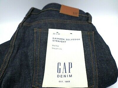 $79.95 • Buy GAP Blue Jeans Kaihara Selvedge Straight 33x32 Mid Rise New With Tags