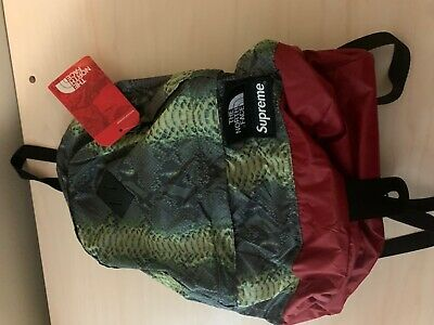 $ CDN112.78 • Buy Supreme X The North Face Snakeskin Backpack / Day Pack Red Green AUTHENTIC NWT
