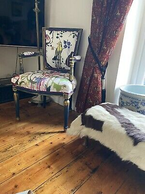 £375 • Buy French Loui Style Arm Chair Navy Gold Christian Lacroix Fabric Designers Guild