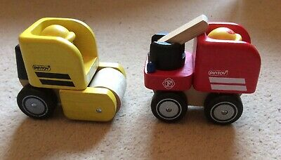 £7.99 • Buy Pintoy Wooden Toys, Fire Engine And Road Roller, 10x6x8 Cm, VG Condition