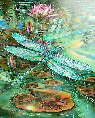 AU18.95 • Buy 5D Full Drill Diamond Painting Kit-Dragonfly Lotus Arts N Crafts, Adult Crafts