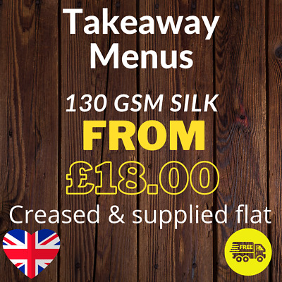 £45 • Buy Takeaway Menus Printed On 130gsm Gloss - A4 Scored DL And Supplied Folded