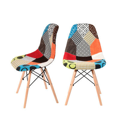 £59.99 • Buy Set Of 2 Patchwork Fabric Dining Chairs Padded Seat Wooden Legs Home Furniture N