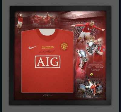 £199 • Buy Wayne Rooney Signed 2008 Manchester United Framed Shirt With CRA Real Value £199