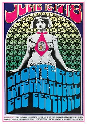 £6.99 • Buy Monterey International Pop Festival Concert Poster Reproduction  60s Psychedelic