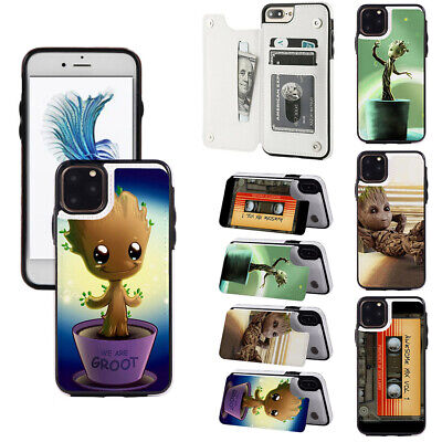 AU16.71 • Buy Baby Groot Card Slot Stand Wallet Phone Case Fit For IPhone & Samsung