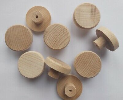 £10.99 • Buy BEECH Solid Wood Unfinished Wooden KNOBS 35mm Handle Drawer Cupboard Furniture