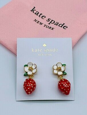 $ CDN30.23 • Buy Kate Spade White Flowers Red Strawberries Drop Earrings Free Shipping