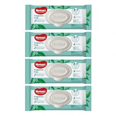 AU30.30 • Buy New Huggies Baby Wipes On-The-Go Pack Fragrance Free - White Carton (4 X 80Pk)