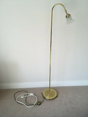 £24.99 • Buy Vintage Floor Standard Brass Lamp Gold Lamp 3 Feet Push Button Switch Glass Shad