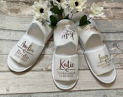£6.39 • Buy Personalised Wedding Spa Open Toe Slippers - Gold Text