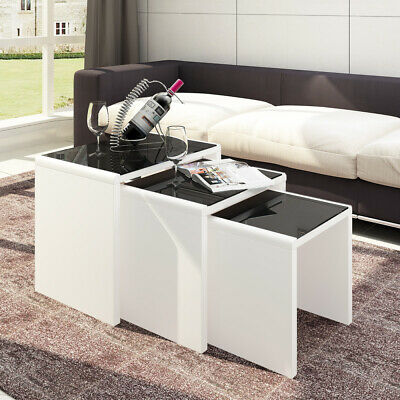 Nest Of 3 Table Black Glass Top Wood Frame Sofa Side End Square Coffee Table Set • 75.99£