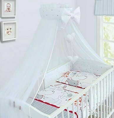 £62.99 • Buy 10PC BABY BEDDING SET COTTON BUMPER PILLOW DUVET FIT COT BED 140x70 Zoo Red