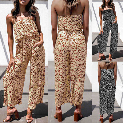 £14.09 • Buy Women Floral Bandeau Jumpsuit  Summer Strapless Beach Holiday Playsuit Romper