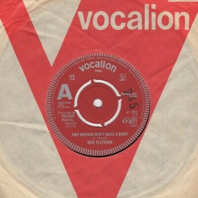 £40 • Buy Don Fletcher Two Wrongs Don't Make A Right Vocalion Demo V-P 9271 Soul Northern