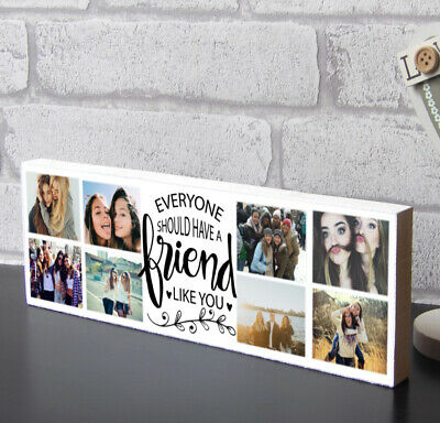 £9.99 • Buy Wooden Photo Block Personalised Best Friend Quote Friendship Plaque Gift Family