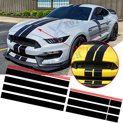 $36.99 • Buy Black Red Graphics Racing Stripe Hood Roof Trunk Decal Stickers For Ford Mustang