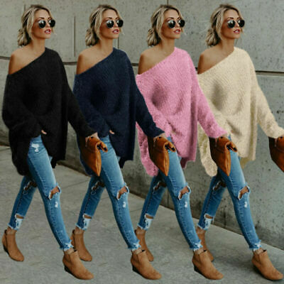 £12.34 • Buy Ladies Off The Shoulder Fluffy Sweater Soft Long Sleeve Jumper Pullover Top New