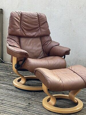 £379 • Buy Ekornes Stressless Leather Recliner Chair And Foot Stool