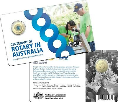 AU24.95 • Buy 2021 Centenary Of Rotary In Australia $1 Dollar Coloured Coin In Card