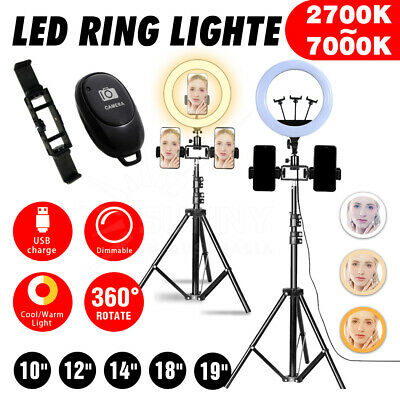 AU26.91 • Buy 12  LED Selfie Light Dimmable Ring Kit Phone Tripod Makeup Live Lamp Stand Set