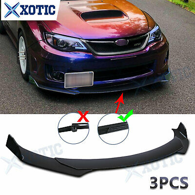 $109.91 • Buy 3 Pcs Black Front Bumper Chin Lip Spoiler Splitter Extension Body Kit For Subaru