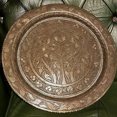 £69.99 • Buy Fine Antique Or Vintage Silvered Brass Tree Of Life Plate Tray