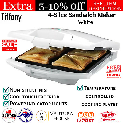 AU48.95 • Buy 4-Slice Toastie Toasted Sandwich Waffle Maker Electric Press Toaster Non-stick