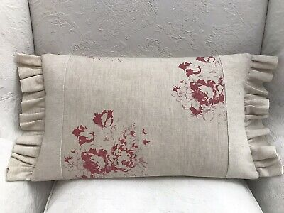 Cabbages And Roses Frill Hatley Natural Raspberry Linen Fabric Cushion Cover • 25£