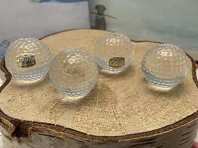 Atlantis Portuguese Crystal Glass Golf Balls X 4 Shaped Paperweight Signed • 15£