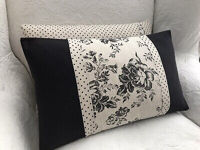 Cabbages And Roses Paris Rose & Scoopy Charcoal Linen Fabric Cushion Cover • 25£