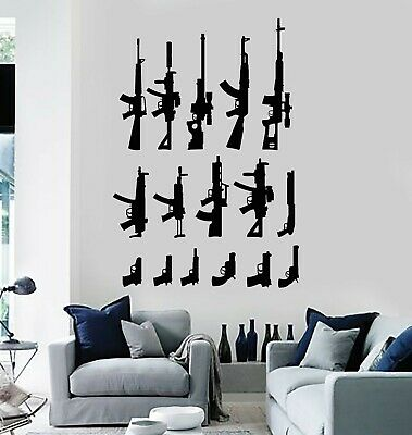 $69.99 • Buy Vinyl Wall Decal Collection Of Weapons Guns Military Decor Stickers (g5126)