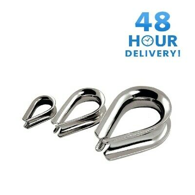 £2.49 • Buy STAINLESS STEEL INOX THIMBLE WIRE CABLE ROPE CLIPS CLAMPS MARINE 3, 4, 5, 6mm