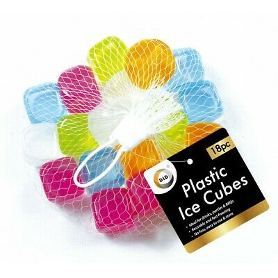 £3.99 • Buy 18Pc Plastic Reusable Ice Cubes Pack Mix Coloured Cubes Drinks Party Freezing UK