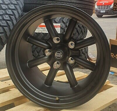 AU1140 • Buy 15  BLACK RACING BR8 Wheels Suit HQ 1 Tonner Flared Torana And 15x8/10 5/120.65