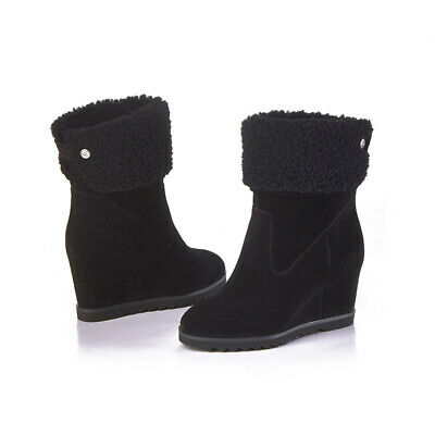 AU59.99 • Buy AXA Womens Ladies UGG Boots Hidden Wedge High Heel Premium Sheepskin Wool Insole