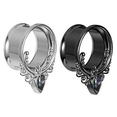 AU6.95 • Buy 1 X Pair Of Coloured Gem Teardrop Metal Ear Flesh Tunnels Piercing Stretchers