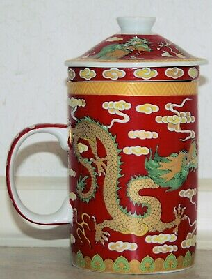 £10.95 • Buy 3 Pieces Red Dragon Pattern Lidded Mug With Infuser. New In Box