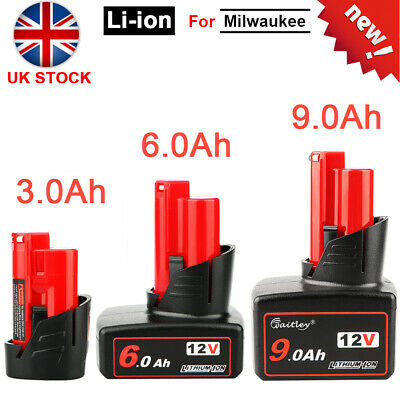 Lithium-ion Battery Fit For Milwaukee M12 3Ah 6Ah 9Ah 12V 9000mah Cordless Tool • 24.99£