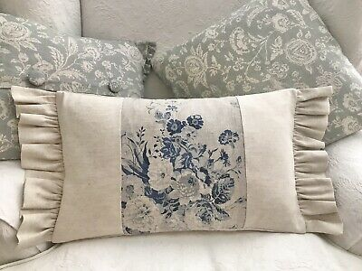 Cabbages And Roses Constance Navy Natural Linen Fabric Cushion Cover With Frill • 25£