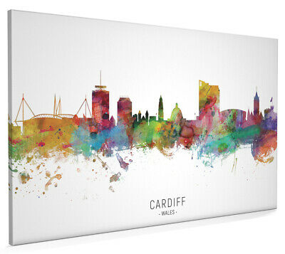£45.99 • Buy Cardiff Skyline Wales, Poster, Canvas Or Framed Print, Watercolour Painting 6547