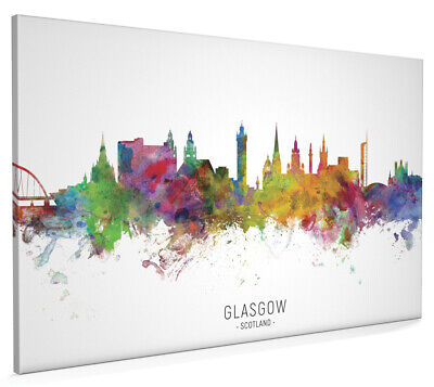 £13.99 • Buy Glasgow Skyline, Poster, Canvas Or Framed Print, Watercolour Painting 6537