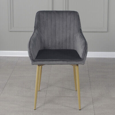 £69.99 • Buy 2 PCS Modern Velvet Fabric Upholstered Dining Chairs Armchairs Gold Metal Legs