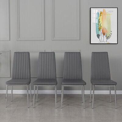 £75.99 • Buy Set Of 4 Modern Dining Chairs Chrome Legs High Back Seat Home Room Furniture