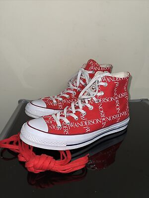 $ CDN54.53 • Buy Converse X JW Anderson Red Chuck 70 Hi Mens Grid Canvas All Over Print Size 8.5