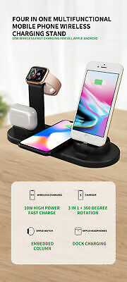 UK 4 In 1 Qi Fast Wireless Induction Charging Dock 4 IPhone IWatch Air Pod IPod  • 17.99£